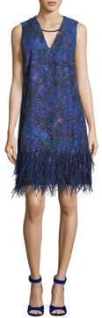 Elie Tahari Lyra Feather-Trim Shift Dress