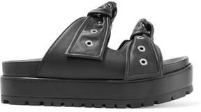 Alexander McQueen Eyelet-embellished Knotted Leather Platform Slides - Black
