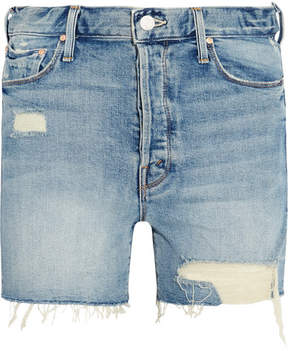 Mother The Proper Distressed High-rise Denim Shorts - Mid denim