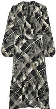 Co Pintucked Checked Hammered Silk-satin Midi Dress - Black