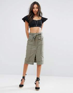 Abercrombie & Fitch Button-Front Utility Midi Skirt