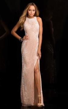 SCALA - 48665 High Neck Sequins Prom Dress with Side Slit