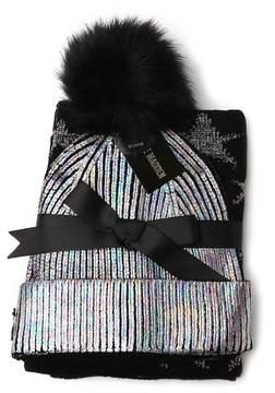 Steve Madden Metallic Faux Fur Pompom Beanie & Star Scarf Set