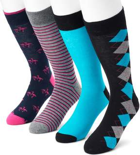 Croft & Barrow Men's 4-pack Flamingo, Argyle, Striped & Solid Crew Socks