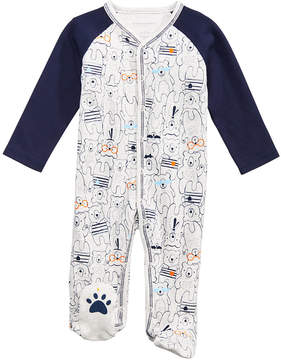 First Impressions Bear-Print Cotton Footed Coverall, Baby Boys, Created for Macy's