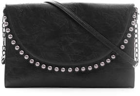Deux Lux Distresses Leather Clutch With Studs