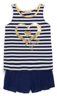 Juicy Couture Girl's Two-Piece Stripe Top and Shorts Set