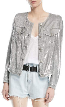 IRO Dalome Button-Front Sequined Jacket