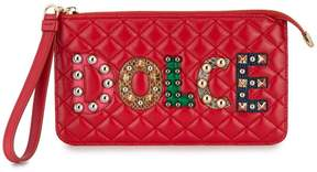 Dolce & Gabbana logo studded quilted purse - RED - STYLE