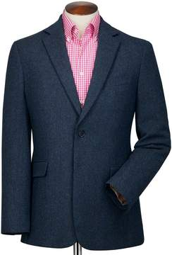 Charles Tyrwhitt Classic Fit Blue Herringbone Wool Wool Jacket Size 38