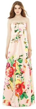 Alfred Sung Women's Watercolor Floral Strapless Sateen A-Line Gown