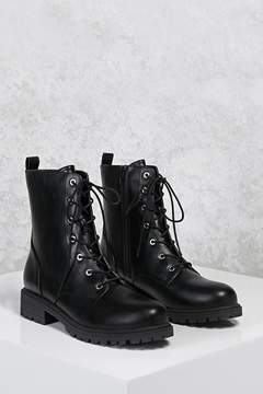 Forever 21 Faux Leather Combat Boots