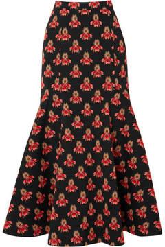 Temperley London Jupiter Fluted Brocade Midi Skirt - Black