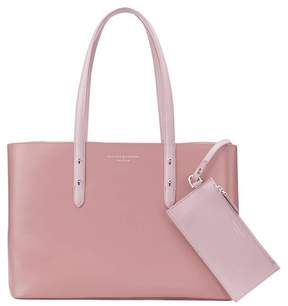 Aspinal of London Regent Tote In Smooth Dusky Pink Rose Dust Stone Suede