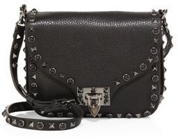 VALENTINO GARAVANI Rolling Rockstud Embellished Leather Shoulder Bag