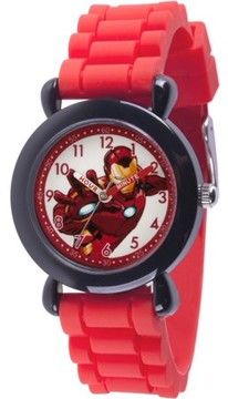 Marvel Avenger Assemble America Boys' Black Plastic Time Teacher Watch, Red Silicone Strap