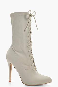 boohoo Alice Lace Up Stretch Shoe Boot