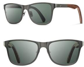 Shwood Men's 'Canby' 54Mm Polarized Titanium & Wood Sunglasses - Gunmetal/ Walnut