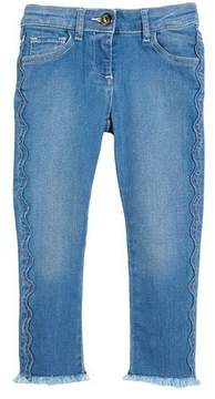 Chloé Raw-Hem Scallop Denim Jeans, Size 4-5