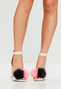 Missguided White Pom Pom Block Heeled Sandals
