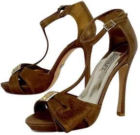 Badgley Mischka Bronze TStrap Heels