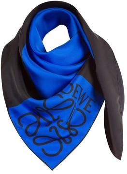 Loewe 90X90 Anagram Scarf Window Blue/Black