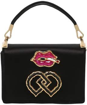 Small Lips Charm Satin Shoulder Bag