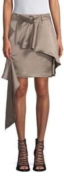 Each X Other Linen-Blend Asymmetric Khaki Mini Skirt