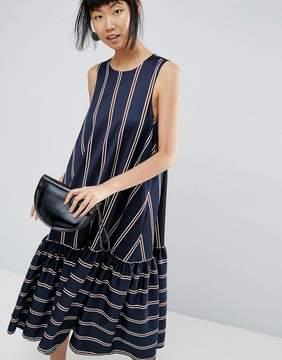 Asos Drop Hem Dress In Stripe