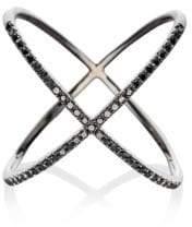 Ef Collection 14K Rhodium & Black Diamonds X Ring