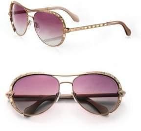 Roberto Cavalli 59MM Swarovski Crystal & Metal Aviator Sunglasses