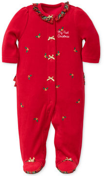 Little Me 1-Pc. Plaid & Holly Footed Coverall, Baby Girls (0-24 months)