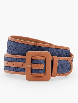 Talbots Straw & Pebbled Leather Buckle Belt