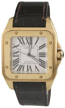 Cartier Santos 100 2657 18K Yellow Gold & Leather Band Automatic Mens Watch