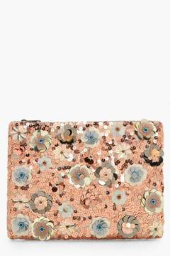 boohoo Sasha 3D Embellished Zip Top Clutch