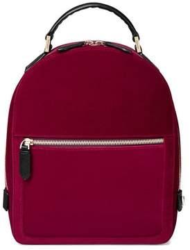 Aspinal of London | Small Mount Street Backpack In Cherry Velvet | Cherry velvet