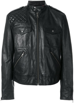 Just Cavalli high collar leather jacket