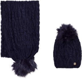 Mayoral Navy Chunky Knit Pom Pom Hat and Pom Pom Scarf Set