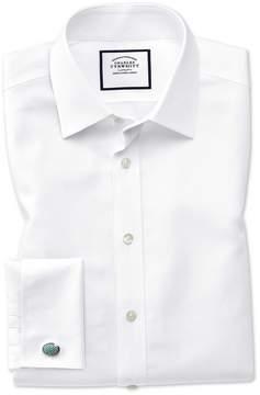 Charles Tyrwhitt Classic Fit Non-Iron Royal Panama White Cotton Dress Shirt Single Cuff Size 15/34