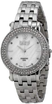 Burgi White Mother of Pearl Dial Ladies Watch