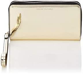 Armani Exchange A X Metallic Wristlet Roundzip Wallet with Strap