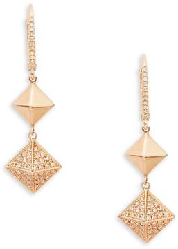 Ef Collection Women's 14K Rose Gold Pyramid Dangle & Drop Earrings
