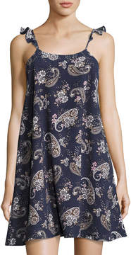 J.o.a. Floral-Print Dress w/ Lace-Up Back, Blue Pattern