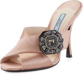 Prada Jeweled Satin 100mm Slide Sandals, Nude