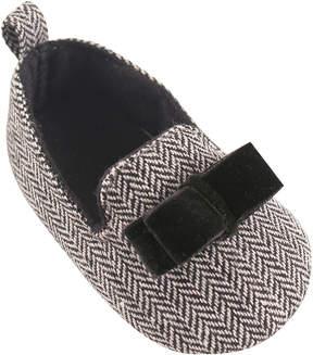 Luvable Friends Gray & Black Chevron Slipper Flat - Infant