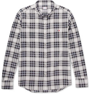 Moncler Gamme Bleu Button-Down Collar Checked Herringbone Cotton Shirt