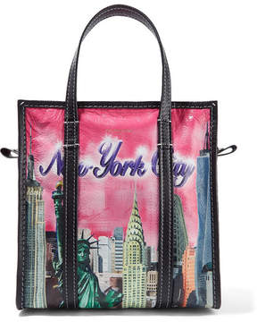 Balenciaga Bazar Small Printed Textured-leather Tote - Pink