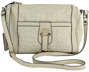 Coccinelle Cream Logo Embossed Leather Crossbody