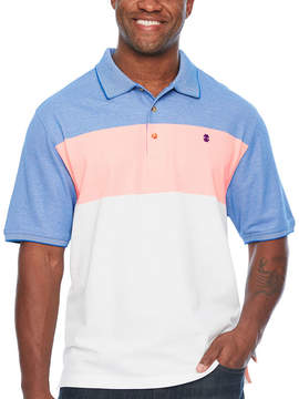 Izod Advantage Performance Colorblock Short Sleeve Stripe Knit Polo Shirt - Big and Tall