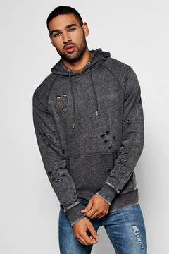 boohoo Over The Head Distressed Hoodie With Enzyme Wash